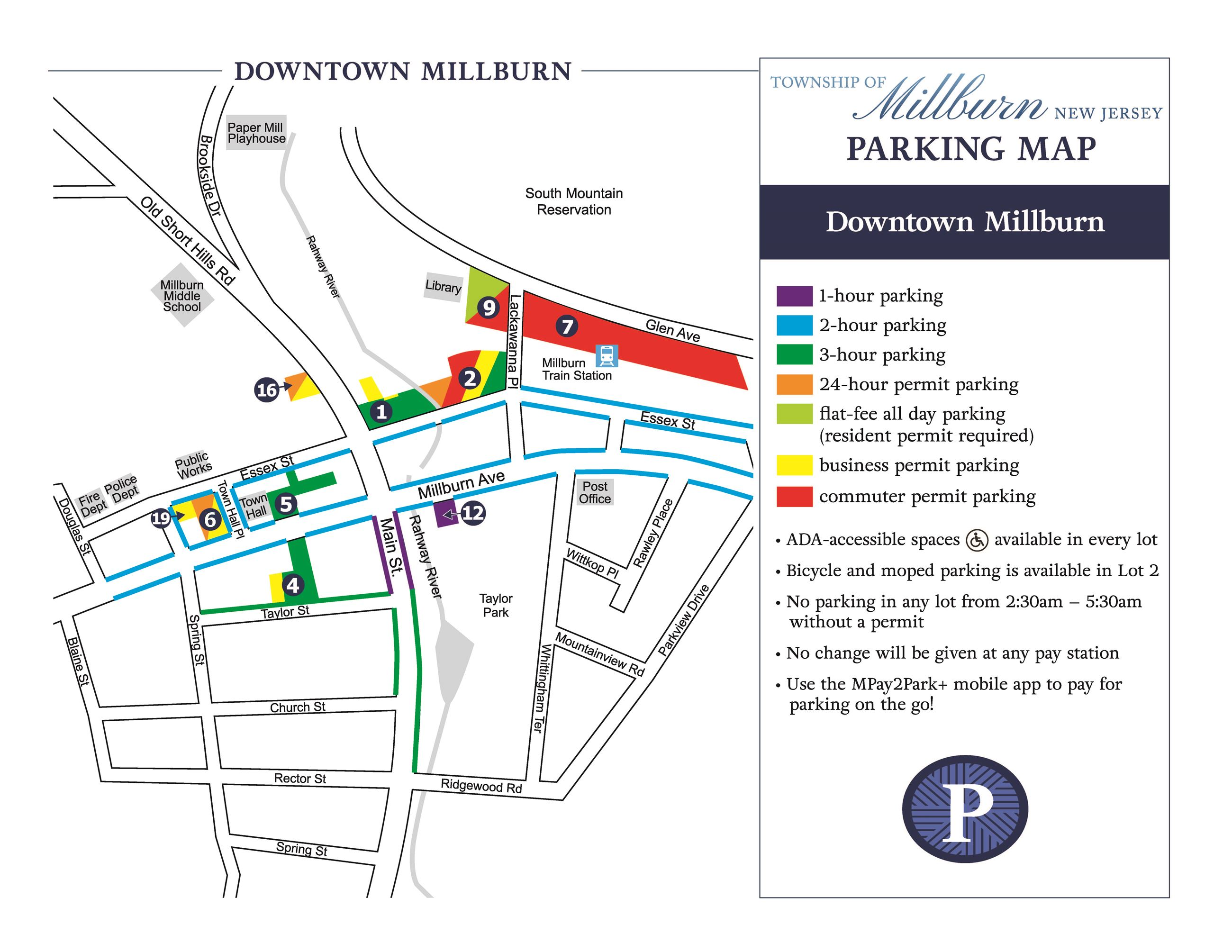 Downtown Millburn Parking Map