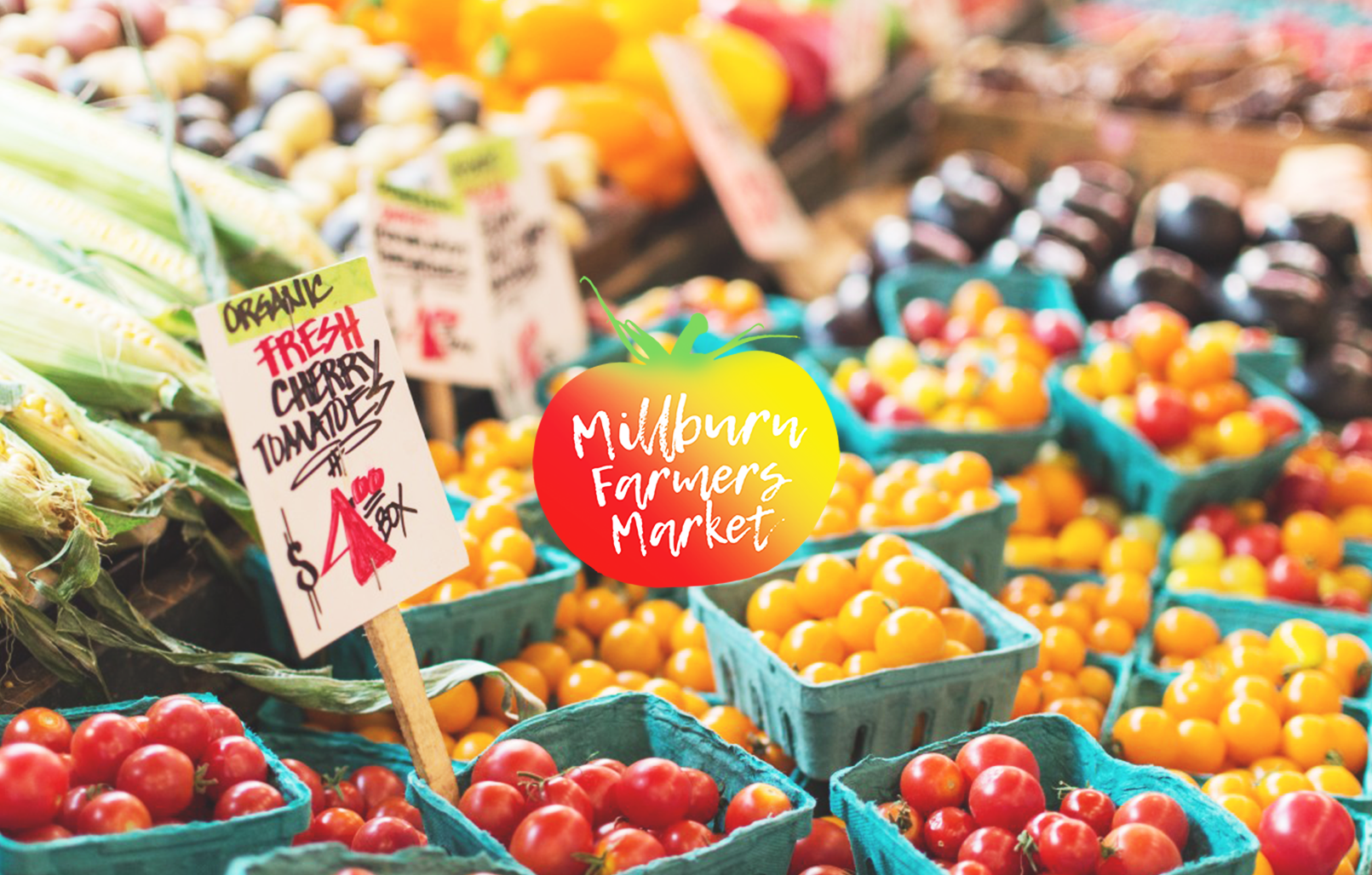 Background photo of veggies with Millburn Farmers Market logo on top