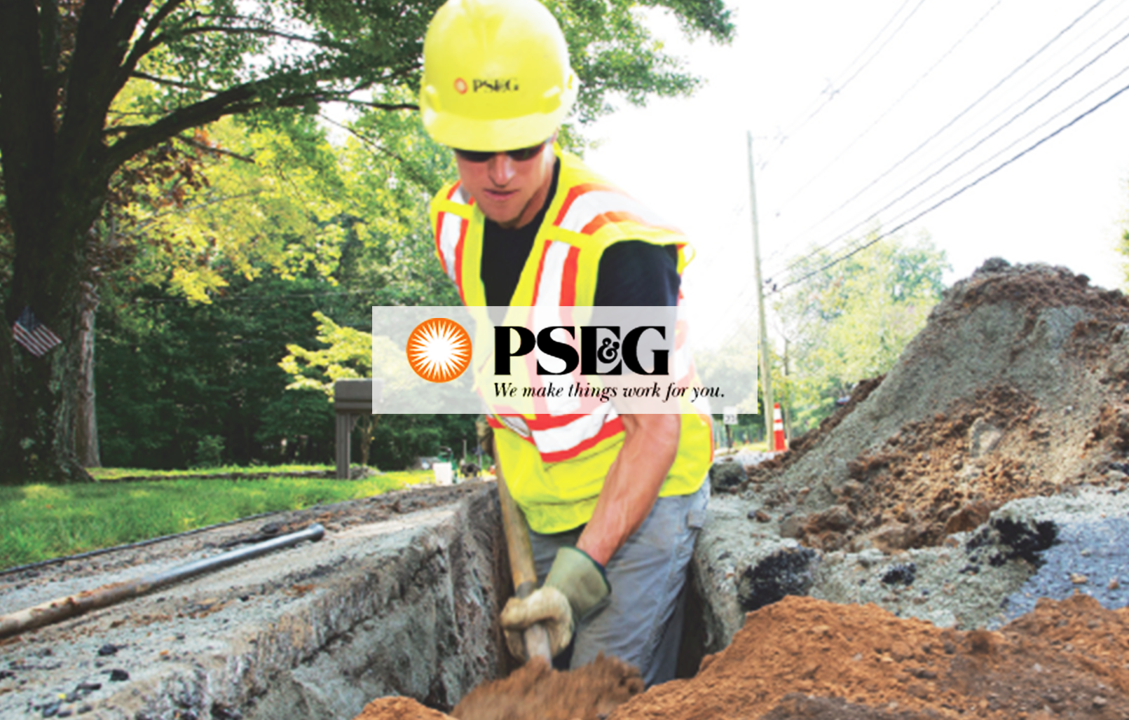 Image of a PSE&G employee working with PSE&G logo on top